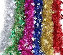 fashion&cheap glitter PET/PVC Christmas tinsel with snowflake ornament