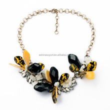 Acrylic Butterfly Flower Design Big Pendant Necklace Tortoise Acrylic Necklace