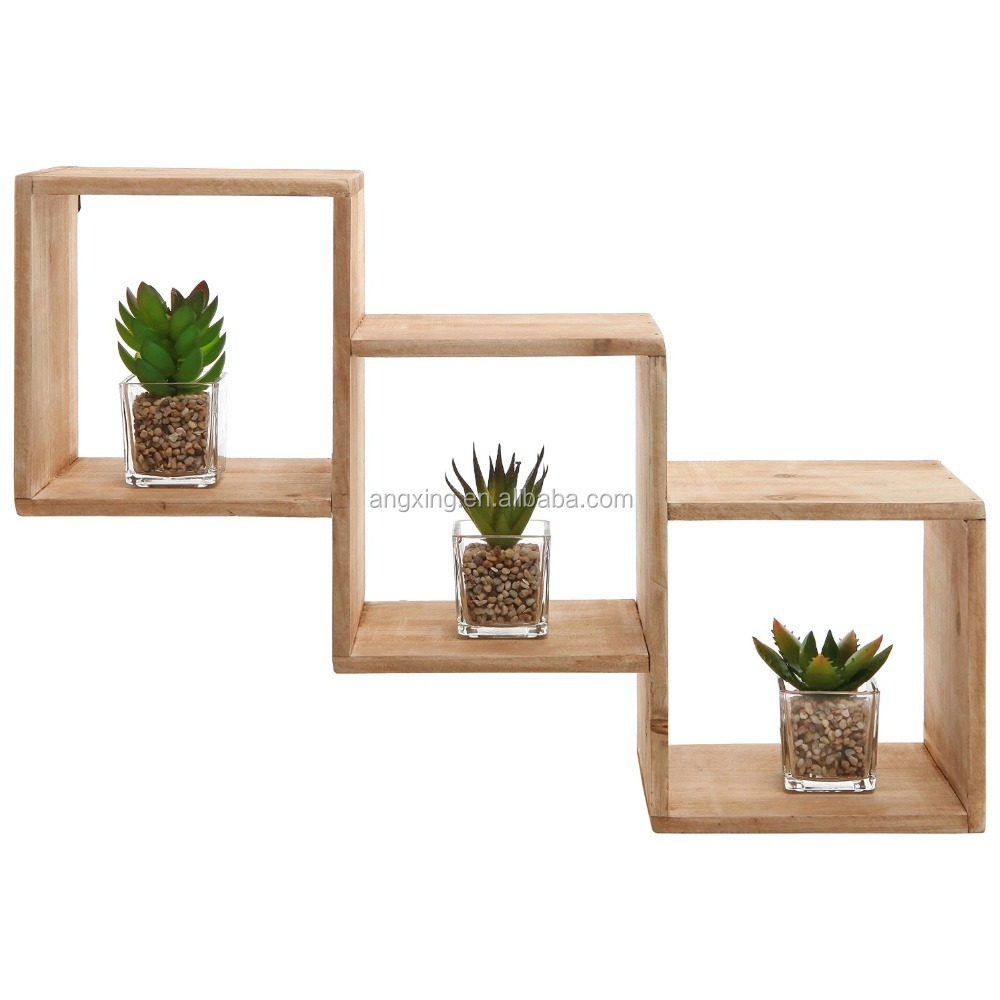 Wall Mounted Natural Wood Square Storage Shelves Rack