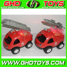Pull line the light install candy cartoon fire truck cheap small plastic candy sugar toys for sale for gift FOOD TEST