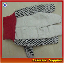 WGD-01 Cotton Canvas Working Gloves with Plastic Dots/pvc dots canvas cotton work gloves/pvc dotted canvas working gloves