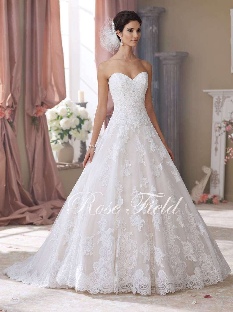 High Quality A-line Sweetheart Beaded Appliqued Designer Lace Wedding Dress