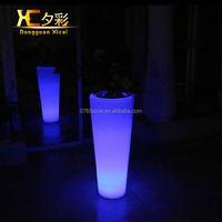 Plastic High Luminous Floor Vase Chargeable Cylinder Home Garden Flower Pot