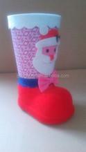 Santa pattern sticked plastic santa claus boots/santa boots for hiome decoration