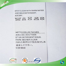 Cheap wholesale washing instructions printing fabric label