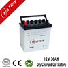 Janpanese Standard 12v 36ah dry car battery 12volt