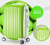 hot-sell shiny ABS + PC luggage bright green color