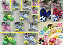 JPSOCKS150312 36 designs 3D non slip new born socks for toddler 0-6Month bear , football, star,frog,flowers,dog,bee,panda