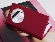 New Product Circular View Window Intelligent Case Cover Flip Folio PU Leather Cover Case for LG G3 Case