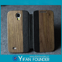 Full Original Cell Phone Flip Cover For Samsung S4 Mini, Case For Galaxy S4 wood back case