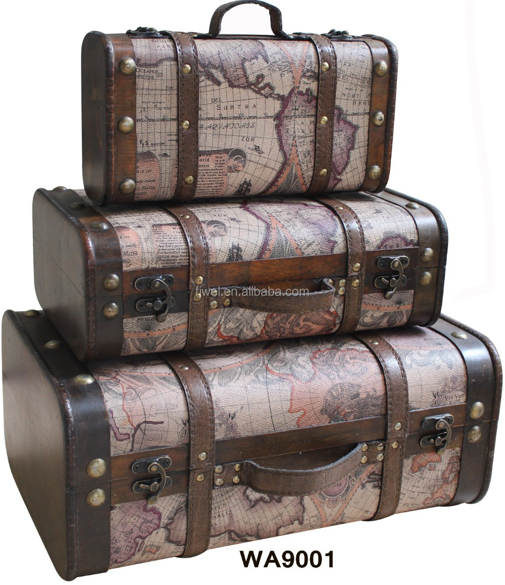 Antique style olde world map decorative wooden suitcase for What to do with vintage suitcases