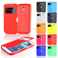 Window View PU Leather Case For Samsung Galaxy S4 Mini i9190 With Sleep Wake Fuction