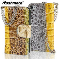 Mobile Phone Accessories For Iphone 4G 4S Cell CROCO Leather Case With Chain