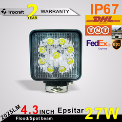 Super Bright 27W Led Work Light 27w led light atv 4x4 off road motorcycle headlight