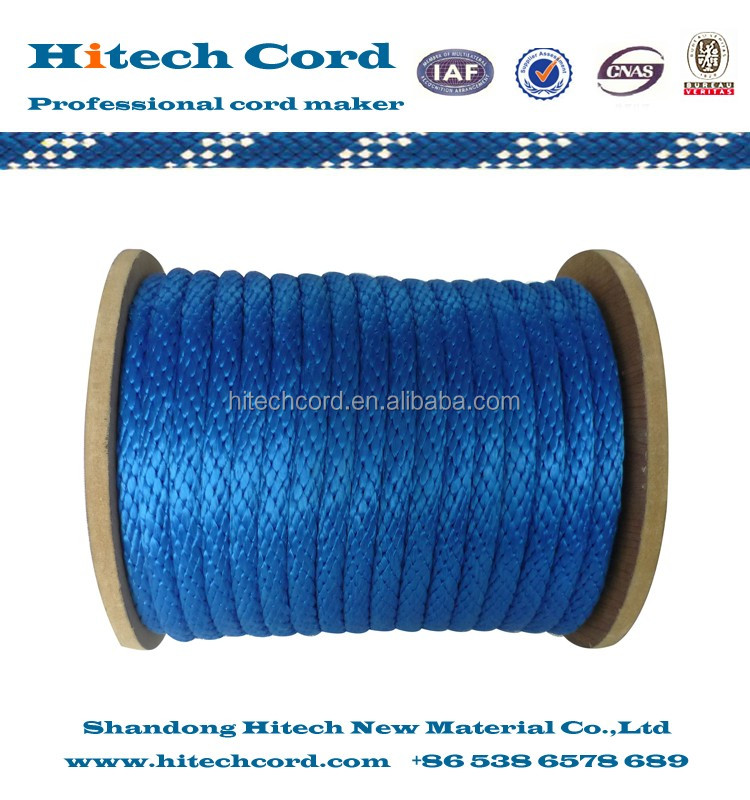 Solid braided rope blue color