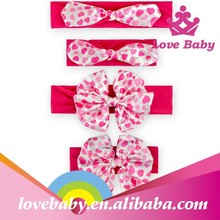 2015 latest boutique rose red handle heart bowknot infant Saint Valentine's Day fabric flowers for headbands