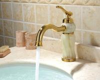 European-quality Brass Basin Mixer Faucet Gold/cyan Jade Dual Temperature Faucet