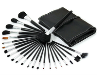 24pcs high quality luxurious makeup brush set leather bag packing