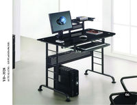 Tempered glass and metal frame home use computer desk