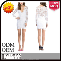 fashion formal elegant white lace cotton long sleeve bodycon dress knee length 2015