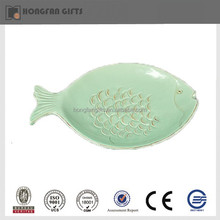 Green porcelain decorative fish shaped salad plate