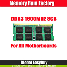 Non ecc unbuffered 512mbx8 16C CL11 1600mhz 8gb ram ddr3 laptop memory