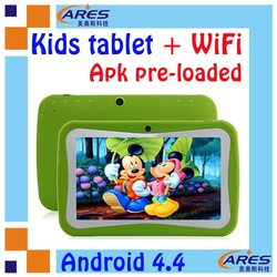 Unique preschool smart tablet pc kids Apps RK3026 dual core 7 inch handheld silicone case - Green