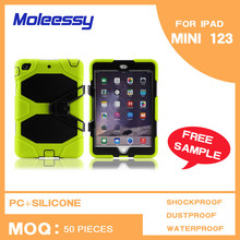 Green silicone waterproof stand case for ipad mini 3