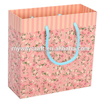 custom pastel green and pink floral gift paper bag