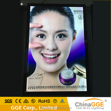 Rectangle aluminum acrylic magnetic light box with led poster inside