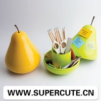 Best Selling product ABS Green color pear shape design plastic container with lid