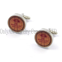 wholesale jewelry fashion design wood inlaid cufflinks with letters engraved