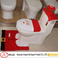 3 pcs Christmas santa toilet seat cover and rug set for home decoration