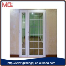 fancy style pvc tempered glass casement mini french doors with grill design