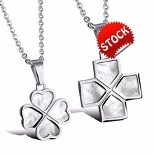 Fashion Four Leaf Clover Pendant Necklaces Vintage Shell + Stainless Steel Lovers' Jewelry Gift For Valentine's Day