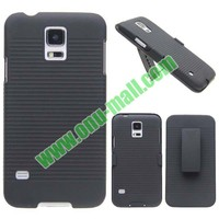 Black Snap-on Rubber Belt Clip Holster Case for Samsung Galaxy S5, Backup Case for Galaxy S5 with Holster