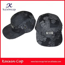 stock floral black fabric with embroidery patch 5 panel hats snap back