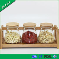 700ml Ladder shaped Glass Jam Jars with Lid, 4 pcs set