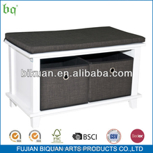 2015 MDF sitting Storage Bench with fabric boxes