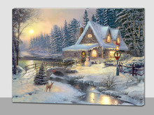 winter scenery canvas wall art print with led, light up led canvas painting