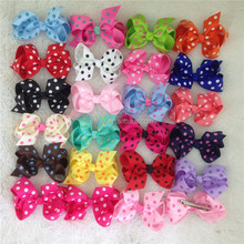22colors New arrival 3.5inch high quality grosgrain ribbon polka dot hair bow With Clip for baby,popular bows for girl in stock