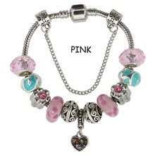 Female Colorful Glass Beads Heart Charm Crystal Bracelet & Bangle