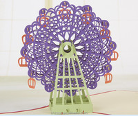 The Ferris wheel 3d laser cutting card for christmas day cards
