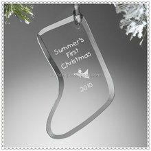 2015 Xmas Custom Make Engraved Glass Hanging Ornament
