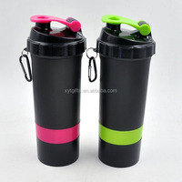 3 in 1 bpa free plastic bottles wholesale custom protein shaker bottle with logo printing