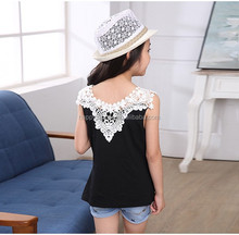 new arrival girls cool summer tops tank tops lace shoulder black white purple