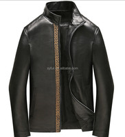 new autumn business man's soft sheepskin leather jacket and genuine leather coat