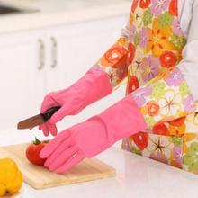 [Section] fine poetry with Tao Jie Korean open flower sleeve gloves / waterproof gloves (lint) - Yellow 42cm