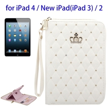 Luxury Crown Pattern Diamond Encrusted Design PU Leather Flip Bag Case For iPad 4