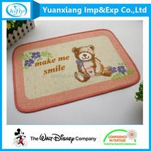 Hot Selling Wholesale Antislip Animal Bear Printing Fashion Floor Mat